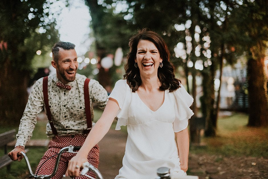 Wedding couple on bikes