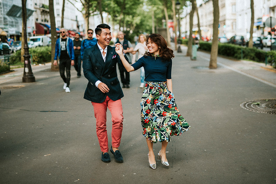 asian couple in paris